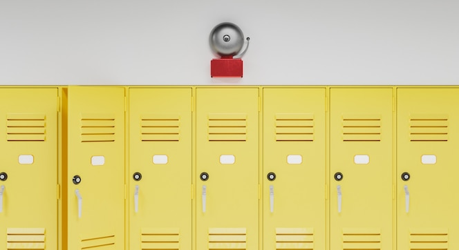 Dzwonek szkolny nad szafkami