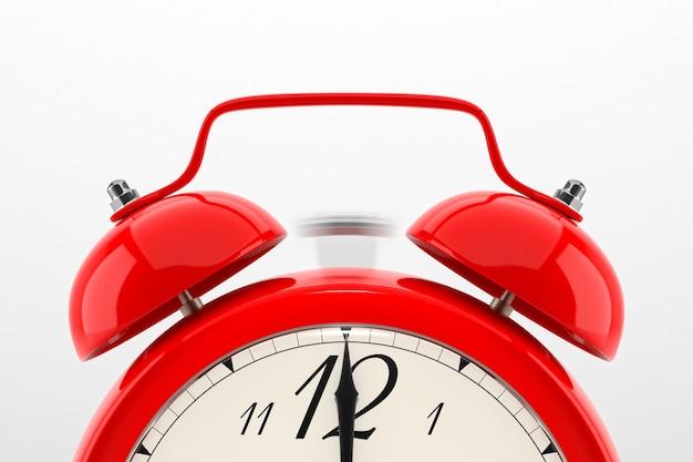 Dzwoni budzik. czerwony stół półka vintage zegar na białym tle. ilustracja 3d