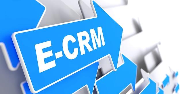 """E-crm. koncepcja technologii informacyjnej. blue arrow z hasłem """"e-crm"""". renderowanie 3d."""