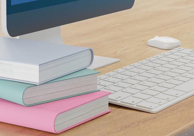 E - koncepcja uczenia się, książki i materiały komputerowe na drewnianym stole, szkoła online z renderowaniem 3d
