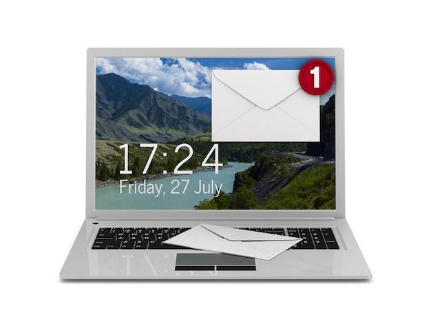 E-mail na białym tle. ilustracja na białym tle 3d