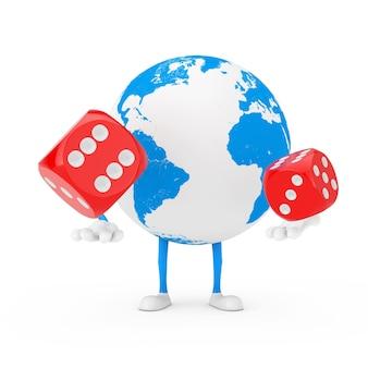Earth globe charakter maskotka z czerwonymi kostkami gry w locie na białym tle. renderowanie 3d