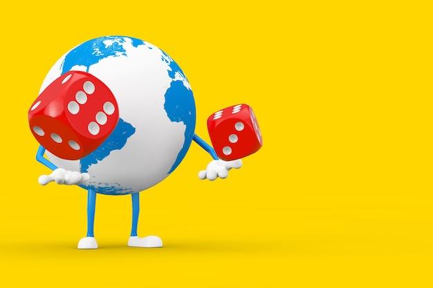 Earth globe charakter maskotka z czerwonymi kostkami gry w locie na żółtym tle. renderowanie 3d