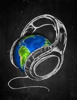 Earth słuchawki muzyki w tle