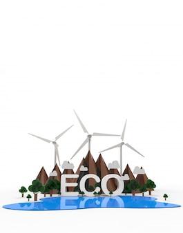 Eco krajobraz przyrody, energia odnawialna.