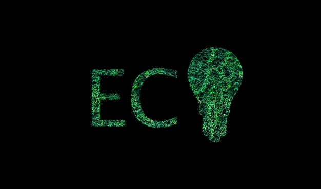 Eco logo z zielonych liści na białym tle na czarnym tle. żarówka. koncepcja ochrony środowiska.