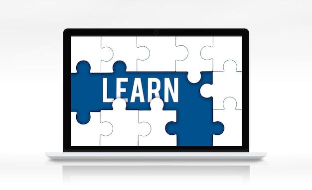 Edukacja nauka puzzle kawałki graficzne