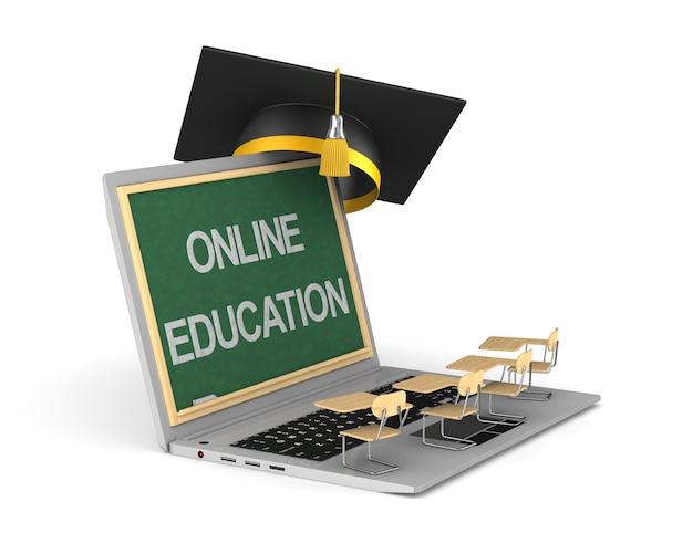 Edukacja online na białym tle. ilustracja 3d