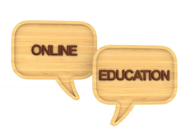 Edukacja online na białym tle.