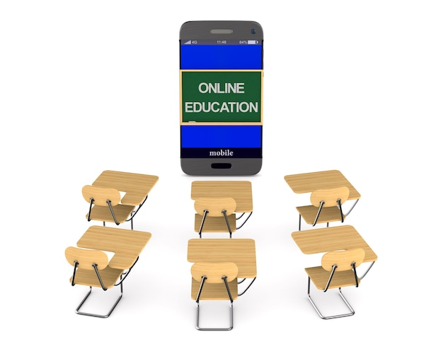 Edukacja Online Na Białym Tle. Premium Zdjęcia