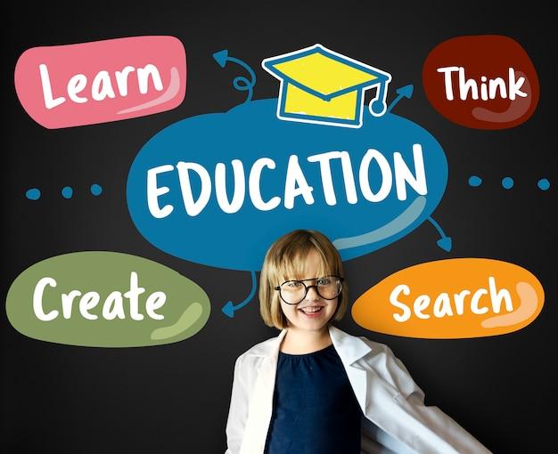 Edukacja utwórz dowiedz się think concept