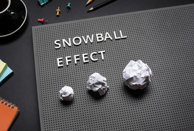 Efekt kuli śnieżnej lub rozwiązania biznesowe i koncepcje planu marketingowego z motywacją tekstową do pracy