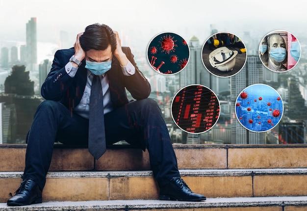 Efekt nieszczęśliwego biznesmena wywołany przez koronawirusa covid19 powodujący kryzys gospodarczy