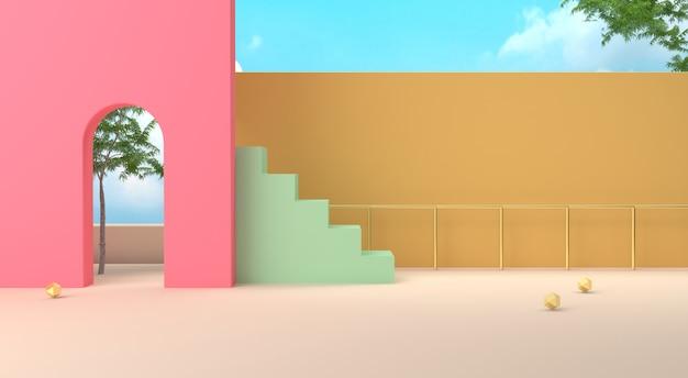 Efekt renderowania grafiki na scenie geometrycznej