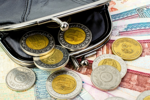 Egipskie funty w czarnym, otwartym portfelu. monety i banknoty z bliska.