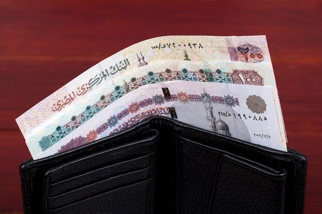 Egipskie pieniądze funty w czarnym portfelu