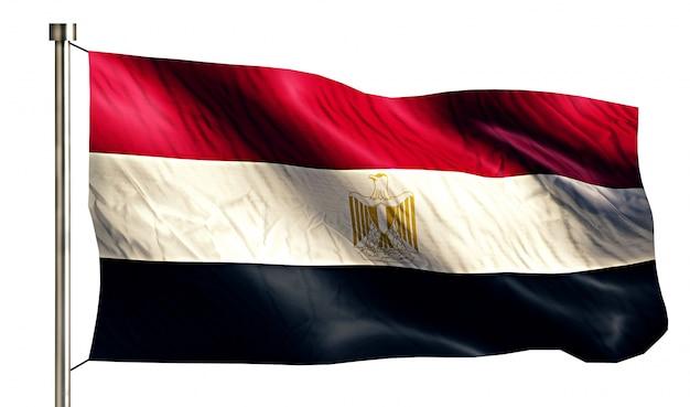 Egipt flaga narodowa pojedyncze 3d białe tło