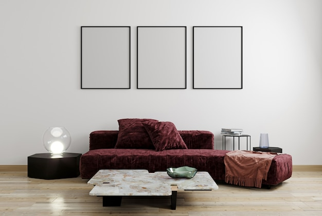 Egzamin próbny w górę plakata na biel ścianie, czerwień, vinous nowożytny meble, minimalny projekt, 3d rendering
