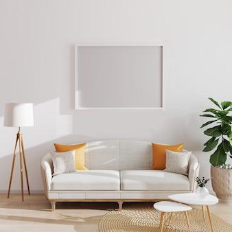 Egzamin próbny w górę poziomego plakata lub obrazka pustej ramy w nowożytnym minimalistycznym wnętrzu, skandynawa styl, 3d ilustracja