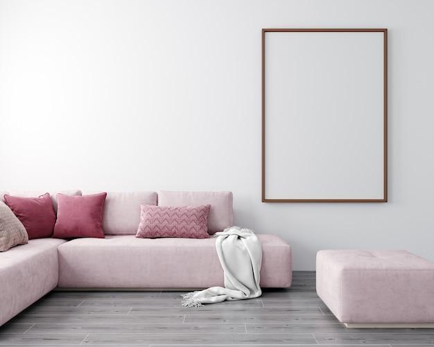 Egzamin próbny w górę ramki plakatu w nowoczesnym salonie wnętrza, renderowania 3d