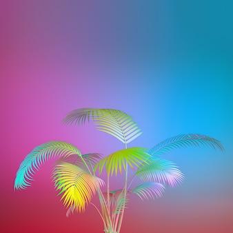 Egzotyczna roślina w odważnych kolorach tęczy. tropikalny układ. ściana z malowanymi liśćmi. minimalna grafika koncepcyjna kolorowej dłoni. renderowanie 3d.