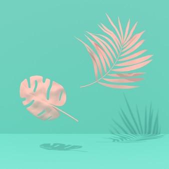 Egzotyczne rośliny na niebieskim tle. tropikalny układ. ściana z malowanymi liśćmi palm i monstera. minimalna grafika koncepcyjna. renderowanie 3d.