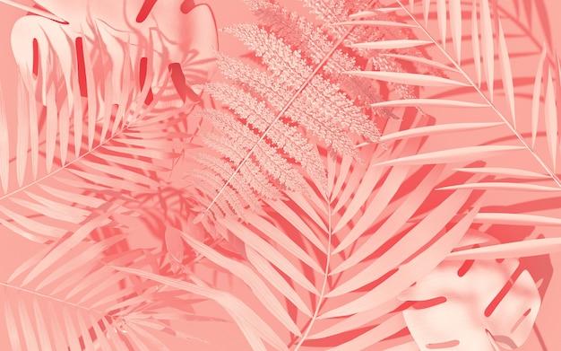 Egzotyczne rośliny o geometrycznych kształtach. tropikalny układ. ściana z malowanymi liśćmi. minimalistyczna grafika koncepcyjna dżungli. renderowanie 3d.