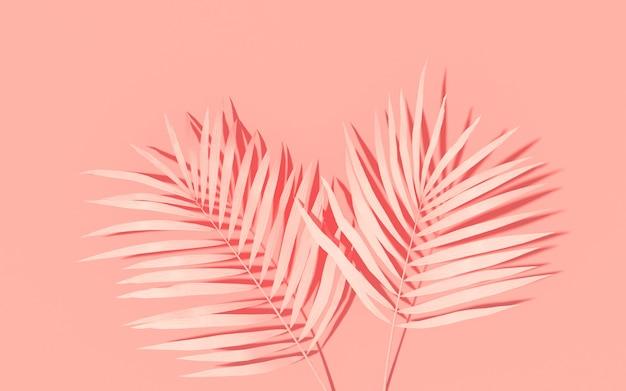 Egzotyczne rośliny z tłem. tropikalny układ. ściana z malowanymi liśćmi palmowymi. różowa minimalna grafika koncepcyjna. renderowanie 3d.