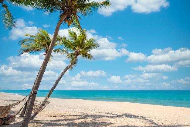 Egzotyczny krajobraz tropikalnej plaży na tle lub tapetę. spokojna scena plażowa inspirująca do podróży, wakacje letnie i koncepcja wypoczynku relaksującego w turystyce.