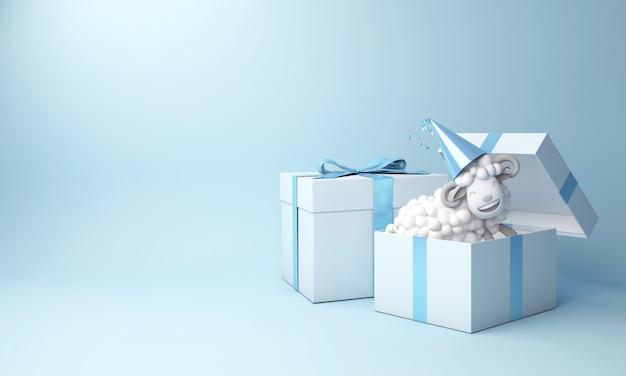 Eid al adha mubarak tło z pudełkiem prezentowym owiec
