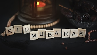Eid Mubarak Powitanie WoodenLetters