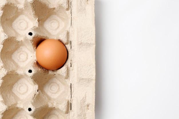 Eko taca kartonowa i jajko z bliska. pojęcie surowców naturalnych podlegających recyklingowi i odrzucenia plastiku.