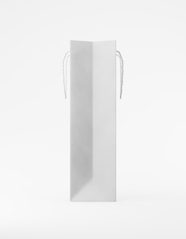 Eko-torba do makiety papier pakowy z uchwytem. wysoki wąski biały szablon na białym tle reklamy promocyjnej. renderowanie 3d