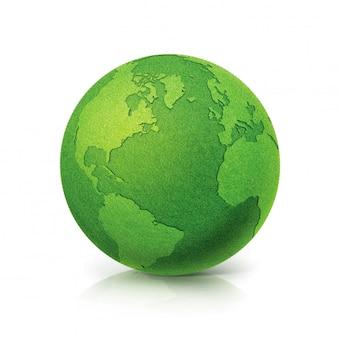 Eko zielona kula ziemska mapa ameryki północnej i południowej na białym tle