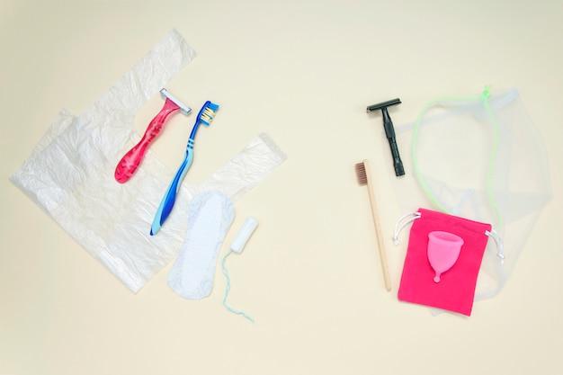 Ekologiczne i plastikowe rzeczy, koncepcja ochrony planety, alternatywny wybór. koncepcja zero odpadów