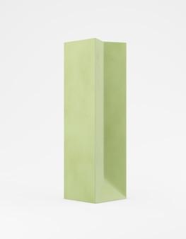 Ekologiczne opakowanie makieta torba papier pakowy pół strony. wysoki wąski zielony szablon na białym tle reklamy promocyjnej. renderowanie 3d