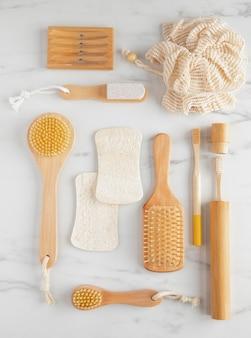 Ekologiczne produkty higieniczne z widokiem z góry
