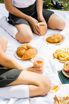 Ekologiczny piknik dla dzieci w wieku szkolnym w parku. rogaliki, frytki i jabłka na eko papierowych talerzach oraz sok jabłkowy w eko kubku ze słomką na białym kocu. powrót do koncepcji szkoły