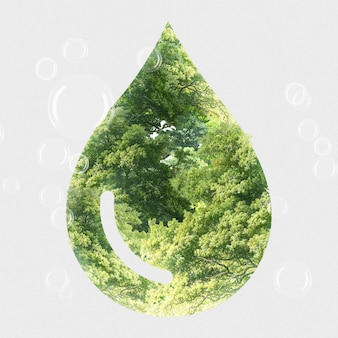 Ekosystemowa zielona kropla wody z mieszanymi mediami drzewnymi