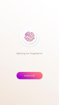 Ekran interfejsu skanowania linii papilarnych dla smartfona