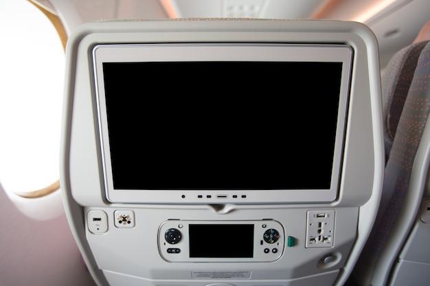 Ekran Lcd Z Tyłu Fotela Samolotu Premium Zdjęcia