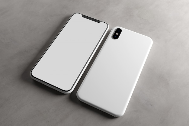 Ekran smartphone i case mockup, renderowanie 3d