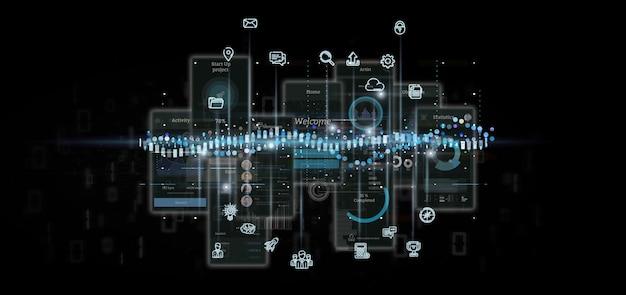 Ekrany interfejsu użytkownika z ikoną, statystykami i danymi