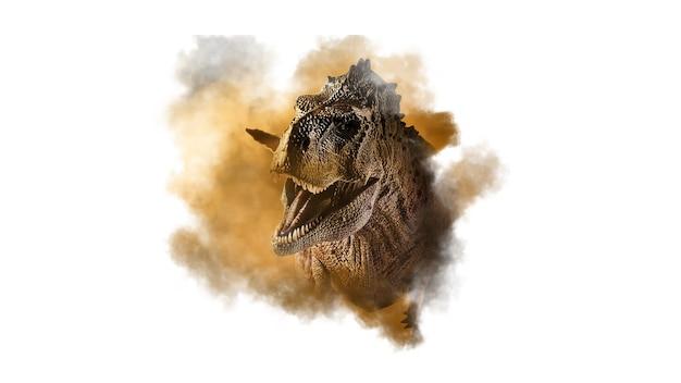Ekrixinatosaurus epitafium dinozaur na tle dymu