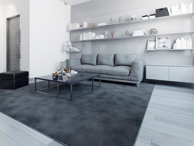 Ekskluzywne wnętrze współczesnego salonu w kolorze biało-czarnym. renderowania 3d
