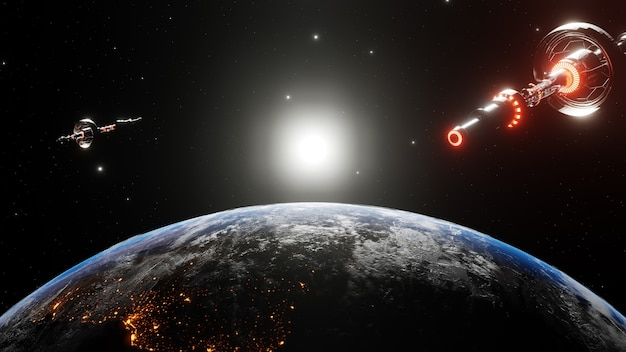 Eksploracja wszechświata wśród gwiazd za pomocą międzynarodowych statków kosmicznych. orbitujący statek kosmiczny we wszechświatach, prom w atmosferze. zdjęcia z nasa. renderowana ilustracja 3d