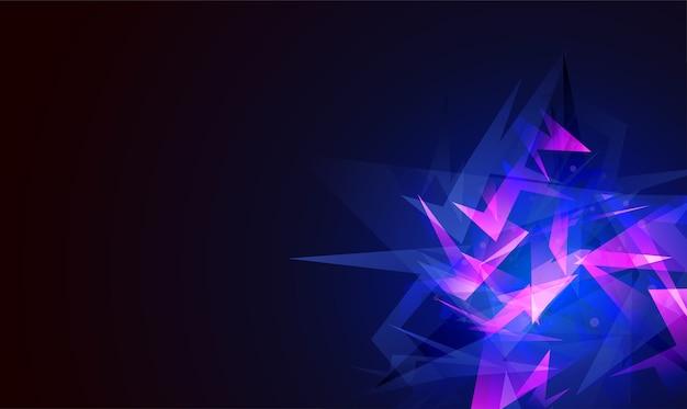Eksplozja abstrakcyjnych kształtów. odłamki potłuczonego szkła. świecące dynamiczne tło dla sportu, muzyki lub gier komputerowych.