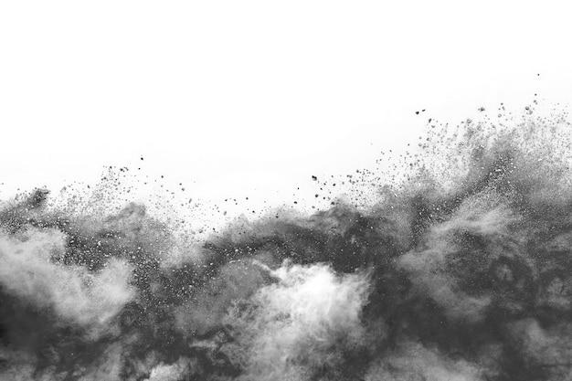 Eksplozja czarnego proszku na białym tle