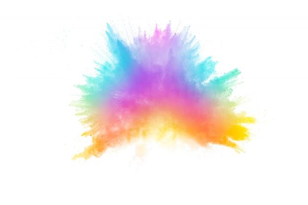 Eksplozja kolorowego proszku. bryzgający pył w kolorze pastelowym.