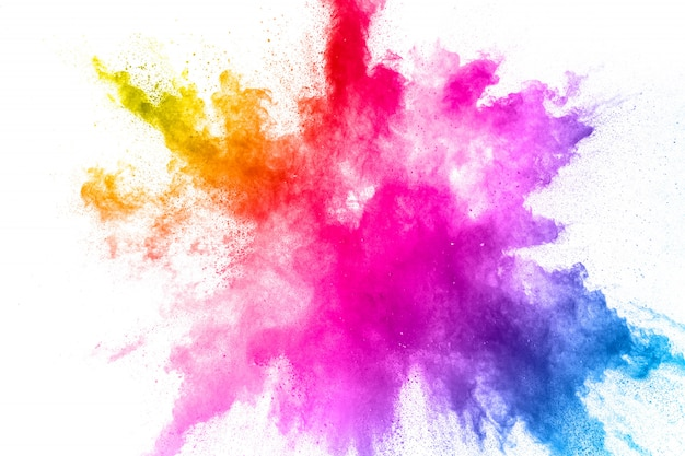 Eksplozja kolorowego proszku. splash cząstek pyłu streszczenie pastelowy kolor.
